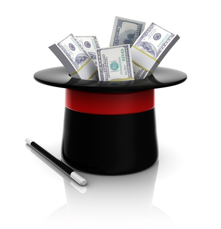 conjuring: 3d illustration of magic top hat with hundred dollar bundles