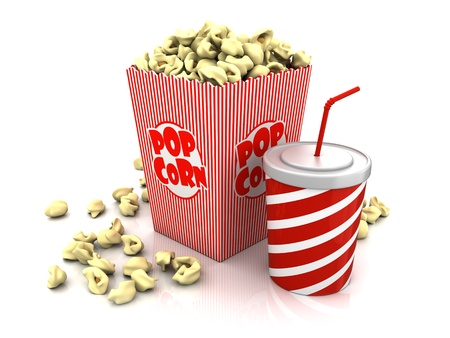 popcorn striped box and cup of soda over white background photo