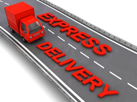 express delivery: 3d illustration of red truck with express delivery sign, over asphalt road