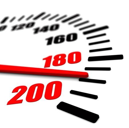 スピード メーターのクローズ アップの赤い矢印の 3 d イメージ 写真素材