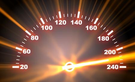 compteur de vitesse: 3d illustration de la face avant du compteur de vitesse sur fond de flambée Banque d'images