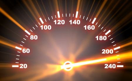 high end: 3d illustration of speedometer faceplate on blaze background