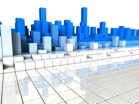 abstracte 3d illustratie van blauwe en witte balken achtergrond