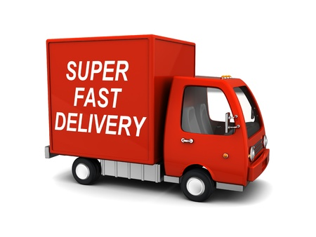 arrive: 3d illustration of delivery truck with  Stock Photo