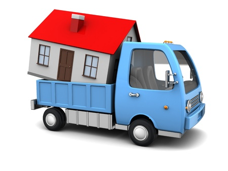 home moving: 3d illustration of truck with house inside, over white background