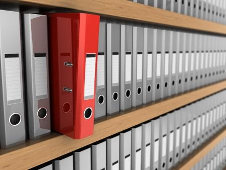 棚から取られる赤いフォルダーを 1 つの 3 d イラスト