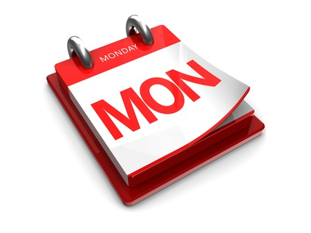 abbreviated: tear-off calendar with red edges on a white background