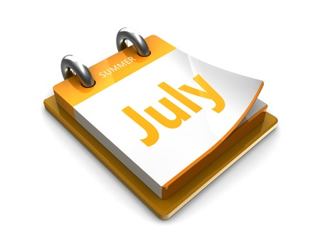 2 months: july at the tear-off calendar on a white background