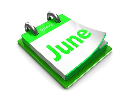 2 months: june at the tear-off calendar on a white background