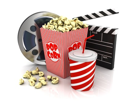 film slate: film slate, movie reel, popcorn and cup of soda Stock Photo