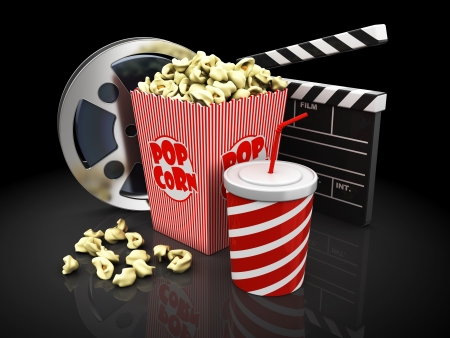 popcorn, cup of soda, film slate and movie reel photo