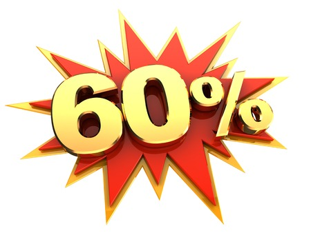 sixty: red icon of starburst with golden sign of sixty percent, isolated Stock Photo