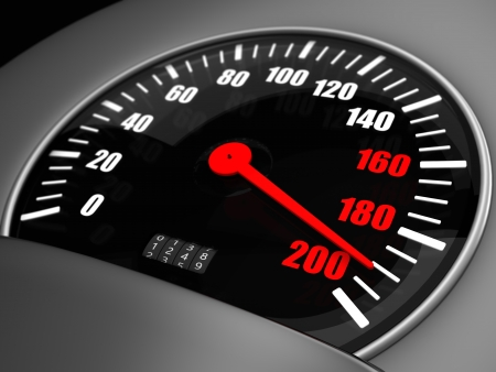 ninety: 3d Illustration of an arrow on a speedometer points to the one hundred ninety