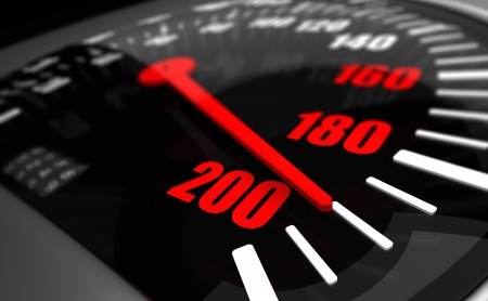 odometer: 3d Illustration of speed dial closeup