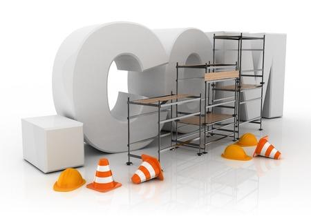 dot com: 3d illustration of domain name dot com under constructions
