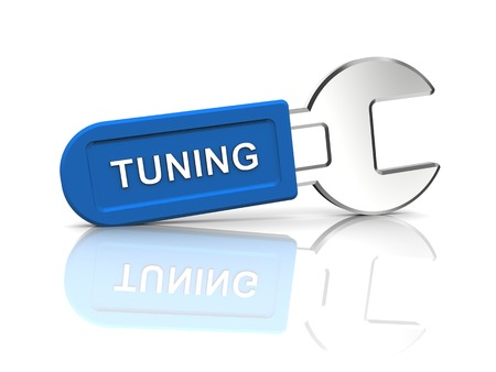 tuning: 3d rendering of spanner with tuning caption on a white background