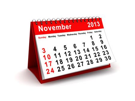 3d illustration of november 2013 calendar