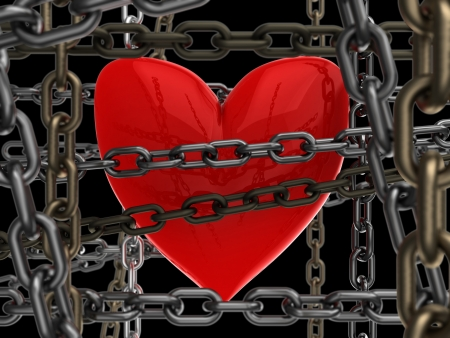 unbreakable: 3d illustration of heart with chains over black background