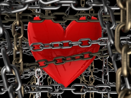 closing: 3d illustration of heart locked with many chains, over black background