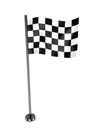 3d illustration of racing flag over white background illustration