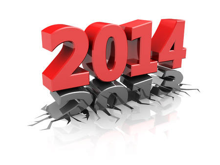 abstract 3d illustration of year 2013 chang to 2014, over white background Stock Photo