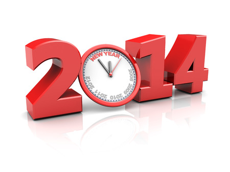 abstract 3d illustration of text 2014 and clock, new year countdown concept illustration