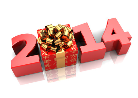 abstract 3d illustration of text 2014 with present box, over white background Stock Photo