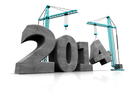 abstract 3d illustration of two cranes building text '2014', over white background