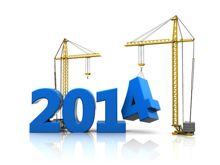 abstract 3d illustration of 2014 year construction Standard-Bild