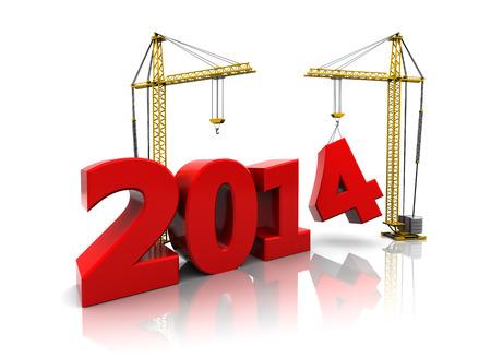3d illustratie van twee kranen gebouw nieuwe jaar 2014 teken Stockfoto