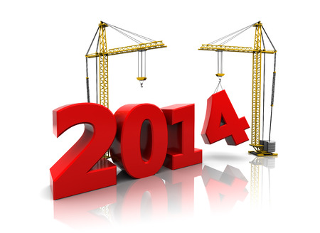 3d illustration of two cranes building new year 2014 sign Zdjęcie Seryjne - 22920088