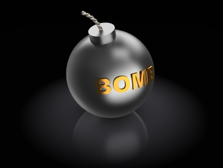 threat of violence: abstract 3d illustration of bomb over dark background