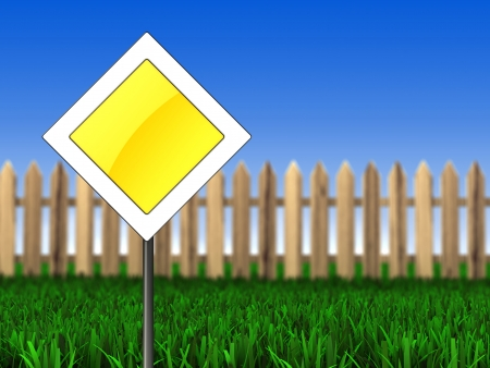 3d illustration of main road sign over meadow background  illustration