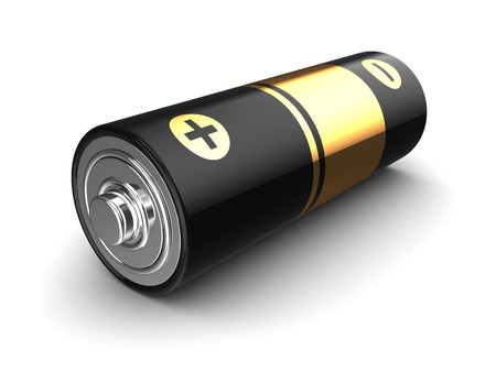 3d illustration of battery over white background