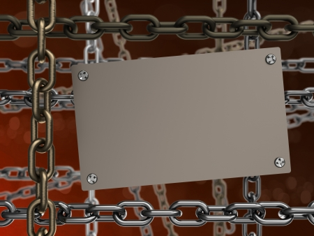 3d illustration of metal plate and chains, over orange background illustration