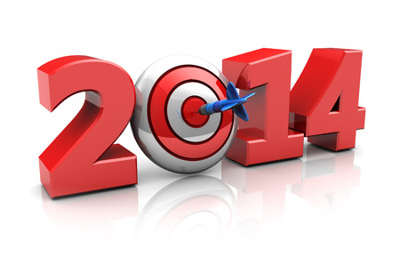 3d illustration of new year sign with darts target, success in new year concept illustration