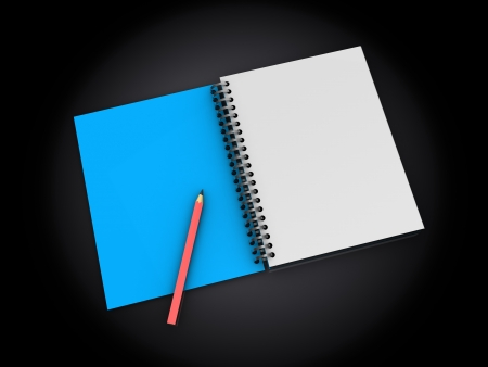 organise: 3d illustration of notepad with pen, over dark background