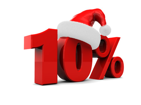 15: 3d illustration of christmas sale discount sign, 15 percent