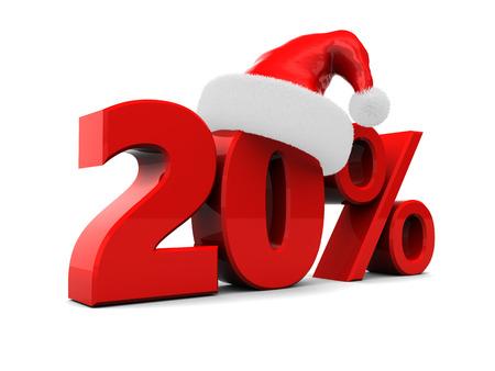 3D-afbeelding van 20 procent kerst korting, op witte achtergrond