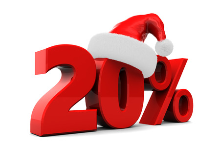3d illustration of 20 percent christmas discount, over white background