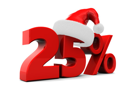twenty five percent christmas discount, over white background photo
