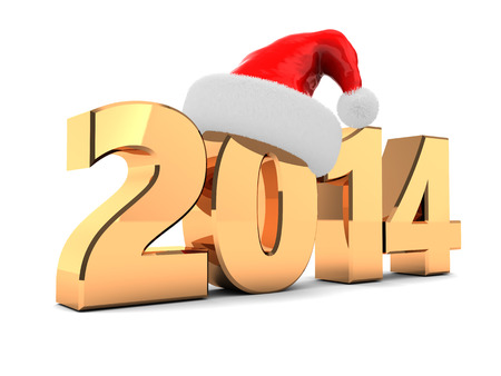 3d illustration of new year 2014 sign with red xmas hat illustration