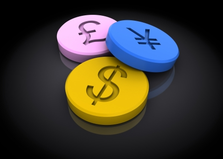 éxtasis: Ilustración 3d abstracto de tabletas con signos de moneda, sobre fondo oscuro