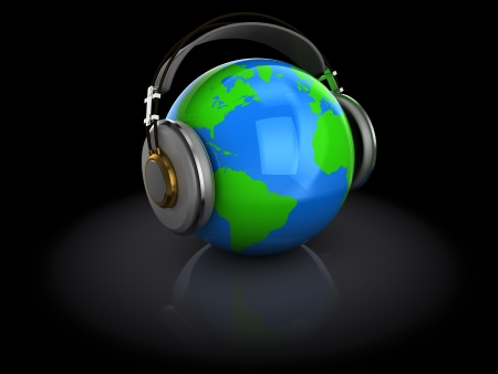 head phones: 3d illustration of earth globe with headphones, over dark background  Stock Photo