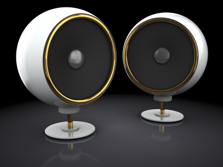 computer clubs: 3d illustration of two audio speakers over black background
