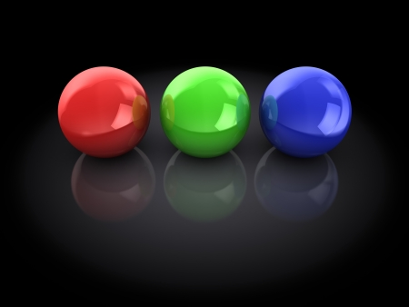 3d ball: 3d illustration of three spheres, red, green and blue