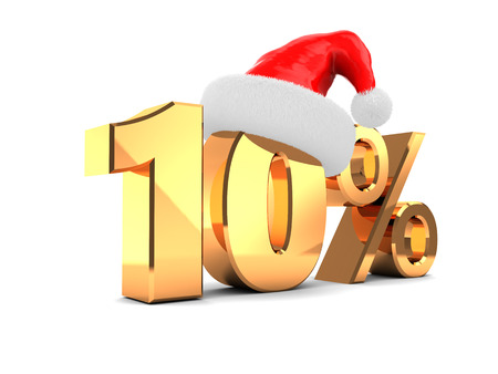 10 month: 3d illustration of christmas sale ten percent