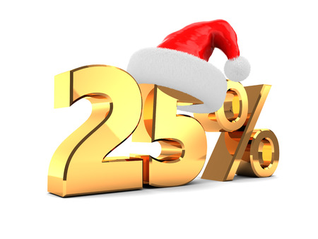 25: 3d illustration of christmas discount 25 percent Stock Photo