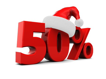 3d illustration of xmas sale sign, fifty percent discount Фото со стока