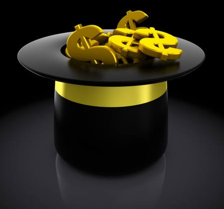 3d illustration of magic hat full of golden dollar signs illustration